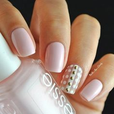 manicure - Dotted and studded. Something simple and dainty! I used essie's 'fiji' 'marshmallow,' and 'blanc'. The studs are from Fancy Nails, Love Nails, How To Do Nails, Gorgeous Nails, Pretty Nails, Manicure And Pedicure, Gel Nails, Acrylic Nails, Bright Summer Nails