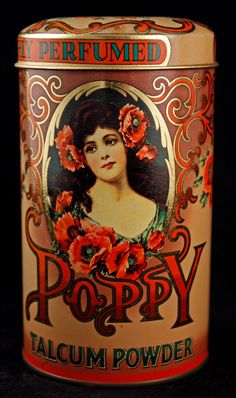 This is a really gorgeous vintage 1970s Poppy Talcum Powder tin, made in England.    Great condition!    It is hallmarked DESIGNED BY DAHER, Long Island,