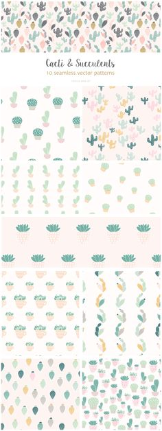 Cactus: seamless vector patterns by Elan Creative Co. on @creativemarket