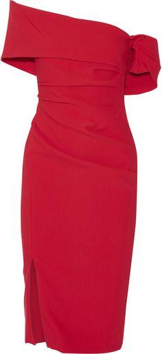Haney Off-the-shoulder ruched stretch-crepe dress