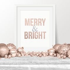 Christmas Wall Art, Merry & Bright Rose Gold Christmas Print, 8x10 Instant Download, Christmas Printable Art, Holiday Decor, Holiday Poster by MintandCompany on Etsy https://www.etsy.com/listing/258444234/christmas-wall-art-merry-bright-rose