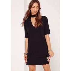 Missguided Embroided Choker Neck T-Shirt Dress  ($34) ❤ liked on Polyvore featuring dresses, black, missguided dress, broderie dress, embroidered jerseys, jersey tee dress and t-shirt dresses