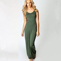 Women's Summer Hot  Sexy U Collar Stretchy Bodycon Maxi Vest Dress – NOK kr. 153