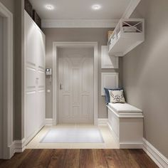 modern corridor design with concrete floor and indirect . modern corridor design with concrete flo Home Design, Flur Design, Interior Design, Design Ideas, White Hallway, Modern Hall, Hallway Decorating, Design Case, Room Colors