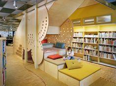 Gottsunda bibliotek | Marge Arkitekter Preschool Rooms, Kindergarten Design, Kids Library, Nursery School, Reggio Emilia, Wallpaper Backgrounds, Interior Architecture, Interior Decorating, Children