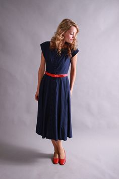 too plain? 1940s navy blue sundress / 40s summer dress / by coralvintage, $88.00
