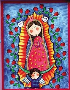 I've always liked the Virgin depicted this way Verge, Art Watercolor, Blessed Virgin Mary, Mexican Folk Art, Blessed Mother, Mother Mary, Sacred Art, Religious Art, Rock Art