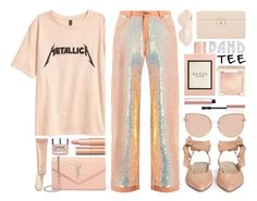 """""""Band Tee: Metallica Gone Pink"""" by the-amj ❤ liked on Polyvore featuring Gucci, Branché, Ashish, Stuart Weitzman, Yves Saint Laurent, Topshop, Jouer, Clinique, Too Faced Cosmetics and Charlotte Russe"""