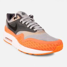 Nike Air Max 1 Breathe (Flat Silver/Black-Dark Grey-Team Orange)