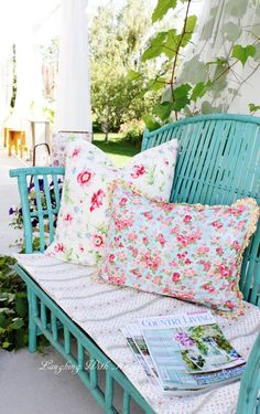 I bought this turquoise bench last week, and while it will most likely live in the house most of the time, it sure looks pretty out here.  Yesterday I sewed up some new pillows and loved the bright pink with the color of the bench.