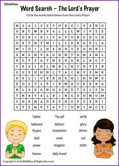 Word Search (The Lords Prayer) - Kids Korner - BibleWise Kids Sunday School Lessons, Sunday School Classroom, Sunday School Activities, Bible Lessons For Kids, Bible Activities, Sunday School Crafts, Bible For Kids, Our Father Prayer, Lord's Prayer