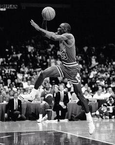 Michael Jordan takes off from the free throw line during the 1988 Slam Dunk Contest.