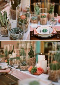 Decoración con cactus para mesa