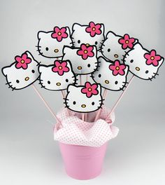 Felt Hello Kitty Birthday Centerpieces On a Stick 6pcs by KeceSus