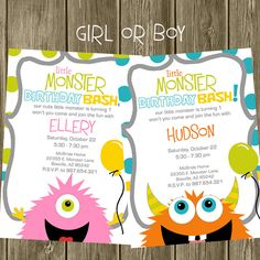 Monster Birthday Party Invitation by shelleyspaperstudio on Etsy, $13.50