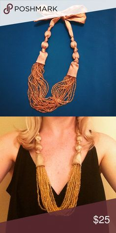‼️PRICE DROP‼️ Beaded Ribbon Statement Necklace Yellow/gold silk ribbon and beaded statement necklace, originally purchased from Anthropologie. Anthropologie Jewelry Necklaces