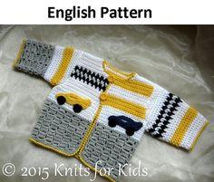 English Crochet Pattern Baby Cardigan Grand by ElodyKnitsforKids