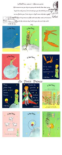 The Little Prince Le Petit Prince Postcards Set 12 by pikwahchan, $6.20 (in French)