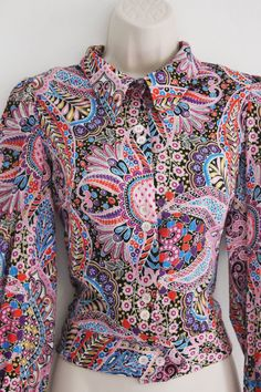 Vintage 60s Paisley Retro Hippy Print Shirt Blouse by BabeBible, £10.00