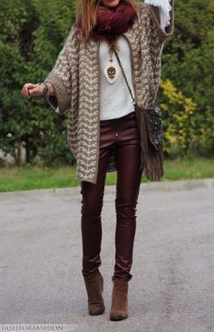 colored leather leggings and sweater