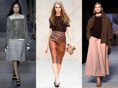 The trend: A Bit of Skirt  In keeping with the season's womanly silhouette, legs go under cover for autumn/winter in a selection of joyously full skirts. Go low in ankle-skimming hemlines worn with clunky block heels, or choose a demure knee-length option; adding a frisson of sexiness with a crop top and high-waist combo or provocative leather and rubber textures.