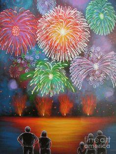 Fireworks IIi Original Acrylic Folk Art Painting By Jordanka Painting