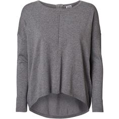 Vero Moda Knitted Zipper Long Sleeved Blouse ($21) found on Polyvore featuring tops, blouses, medium grey melange, boat neck tops, long sleeve knit tops, long sleeve blouse, boatneck blouse and grey blouse