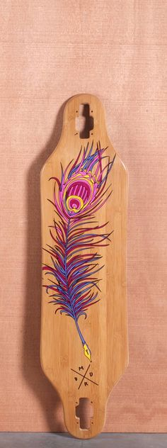 """$130 Madrid 38"""" P-Cock Bamboo Longboard Deck NOT COMPLETE"""