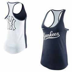 I want! Nike New York Yankees Women's Tri-Blend Loose Fit Racerback Tank