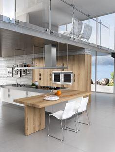 #Cuisine #design blanche et bois par Armony #cucine