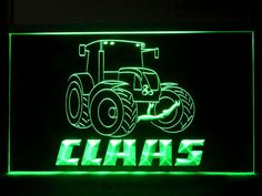 Claas Tractor Service Logo Neon Light Sign