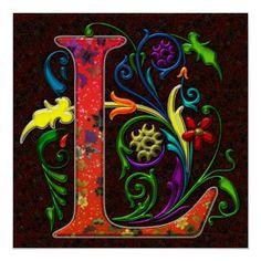 Regal Letter L with Flowers Monogram Digital Vector Art Painting. Regal Letter L Monogram Art Alphabet Art, Letter Art, Alphabet Soup, Illuminated Letters, Illuminated Manuscript, Letters And Numbers, Fiber Art, Hand Lettering, Artsy
