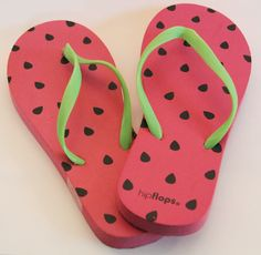 Watermelon themed flip flops - perfect for the summer! Found in the Target dollar bins.