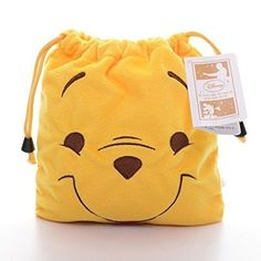 """DISNEY WINNIE THE POOH DRAWSTRING PLUSH POUCH 8"""" x 8"""" (20cm x 20cm). -- Check out the image by visiting the link."""