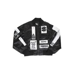 KTZ X BEEN TRILL WOMENS PATCHED BOMBER JACKET BLACK GLOW ($907) ❤ liked on Polyvore featuring outerwear, jackets, blouson jacket, patch jacket, been trill, flight jacket and bomber jacket