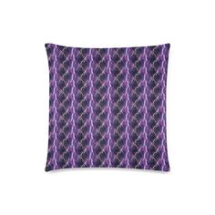 """Lighting strikes Custom Zippered Pillow Case 18""""x18""""(Twin Sides).Lighting strikes in a strip pattern, bold design in black, white and purple."""