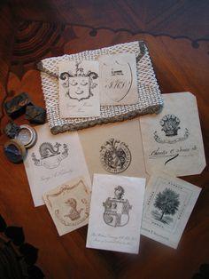 Vintage Ephemera Collection featuring assorted book plates; letterpress dies & vintage hand-beaded purse.