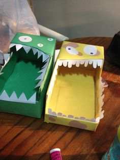 Monster utensil boxes for Monsters Inc party.