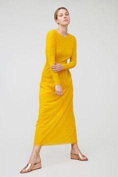 No.6 - Priscavera Long Sleeve Mesh Dress in Goldenrod