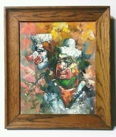 """Vintage Expressionist Clown Oil Painting ~ 12"""" Framed Signed  #Expressionism"""