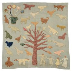 """Granny Donaldson Folk Art Wall Hanging Kate """"Granny"""" Donaldson, 1864-1960, Brasstown, North Carolina, crocheted figures, barnyard animals, flower basket and fanciful tree hand applied to handwoven wool panel, hemmed edges, top hanging slip for rod, 35-1/2 x 35 in."""