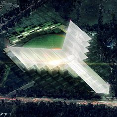 "Baseball stadium for Mexico's ""red devils"" to feature a three-pronged roof"