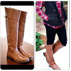 "⭐️LAST ONES!⭐️NIB Over the Knee Riding Boots NIB Tan Over the Knee Riding boots. Thigh high boot made of synthetic leather, with a rounded toe front and side zipper closure. They have a stacked heel, top buckle strap. These also have a soft padded insole for comfort. RUNS TRUE TO SIZE.  Heel 1"", Shaft (w/heel) approx 20"", Calf Circumference approx 15"".Trades and No Paypal Shoes"