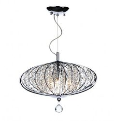 Adriatic ADR0350 As seen on 60 Minute Makeover Modern crystal ceiling fitting finished in polished chrome with crystal beads  Height adjustable at point of installation.  3 x 40w SES Lamps (Not Included) Min Height: 38cm Max Height: 136cm Diameter: 50cm £215 Perfect for Living room, bedroom or hallway.