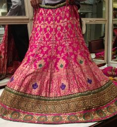 Hot pink brocade lehenga