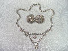 Vintage BRIDAL RHINESTONE necklace and earring by ElegantiTesori, $59.99