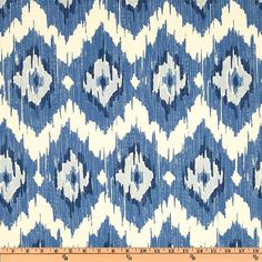 Blue Ikat Boho Stretched Fabric Textile Wall Art by arthurandolive, $36.00