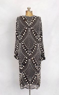 1920s black and white silk chiffon pearl-beaded gown.