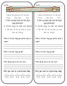 Holding children accountable for partner reading.