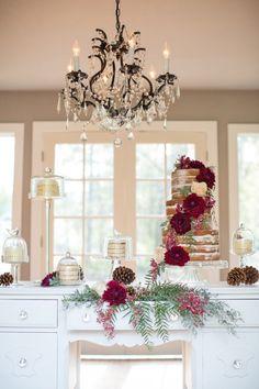 Rustic Fall Wedding Cake Display | Ashley Cook Photography | https://heyweddinglady.com/jewel-toned-autumn-woodland-wedding-shoot/